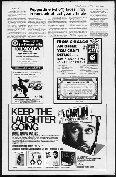 Daily Trojan, Vol. 68, No. 77, February 20, 1976