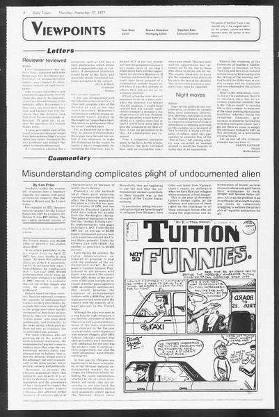 Daily Trojan, Vol. 72, No. 42, November 17, 1977