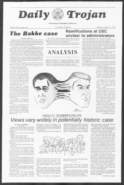 Daily Trojan, Vol. 72, No. 20, October 17, 1977