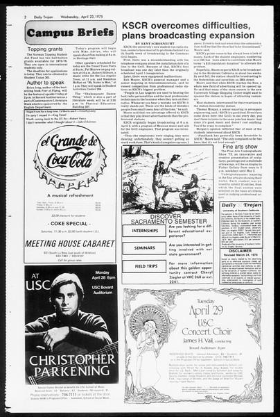Daily Trojan, Vol. 67, No. 113, April 23, 1975