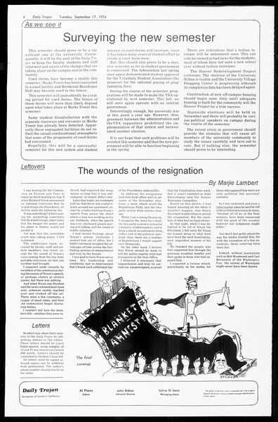Daily Trojan, Vol. 67, No. 2, September 17, 1974