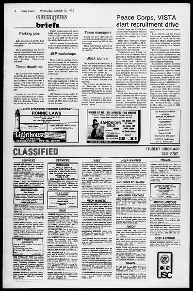 Daily Trojan, Vol. 68, No. 21, October 15, 1975