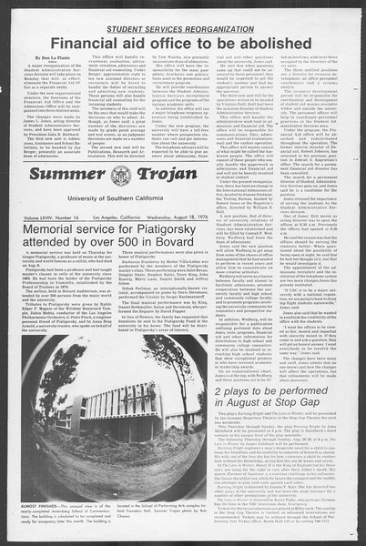 Summer Trojan, Vol. 69, No. 16, August 18, 1976