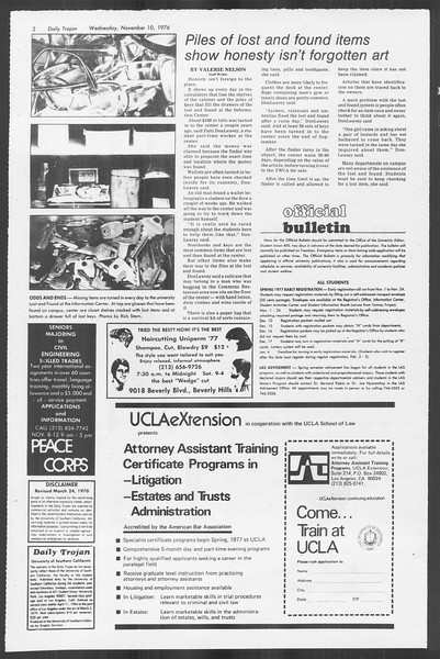 Daily Trojan, Vol. 70, No. 35, November 10, 1976