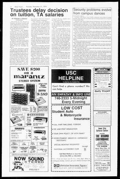 Daily Trojan, Vol. 67, No. 46, November 21, 1974