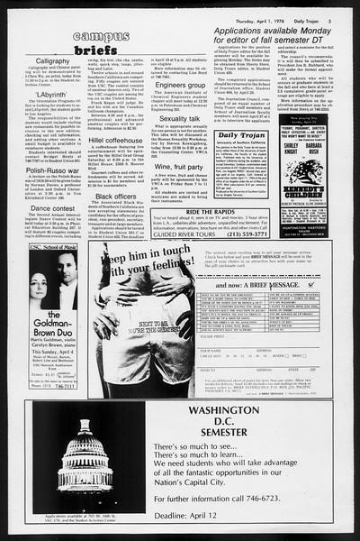 Daily Trojan, Vol. 68, No. 106, April 01, 1976