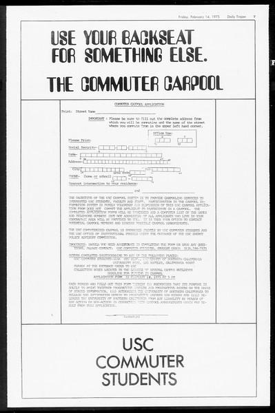 Daily Trojan, Vol. 67, No. 74, February 14, 1975