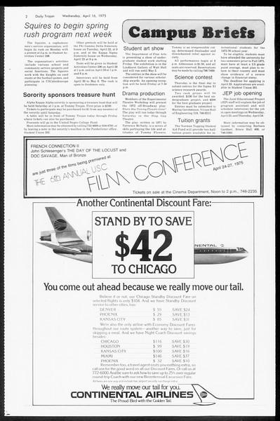 Daily Trojan, Vol. 67, No. 108, April 16, 1975