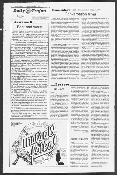 Daily Trojan, Vol. 71, No. 64, May 20, 1977