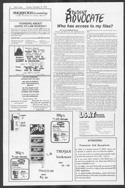 Daily Trojan, Vol. 70, No. 38, November 16, 1976