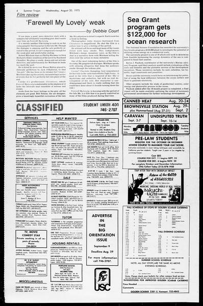 Summer Trojan, Vol. 68, No. 15, August 20, 1975