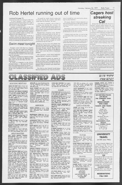 Daily Trojan, Vol. 71, No. 11, February 24, 1977