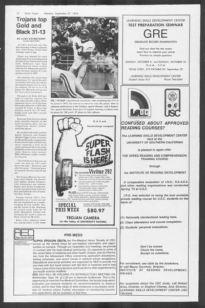 Daily Trojan, Vol. 70, No. 6, September 27, 1976