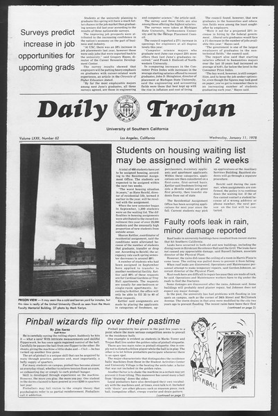 Daily Trojan, Vol. 72, No. 62, January 11, 1978