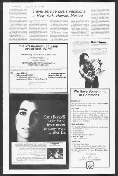 Daily Trojan, Vol. 71, No. 40, November 15, 1977
