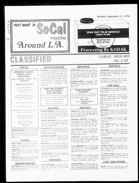 SoCal, Vol. 67, No. 6, September 23, 1974
