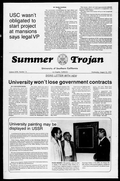 Summer Trojan, Vol. 68, No. 14, August 13, 1975