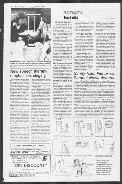 Summer Trojan, Vol. 69, No. 10, July 20, 1976