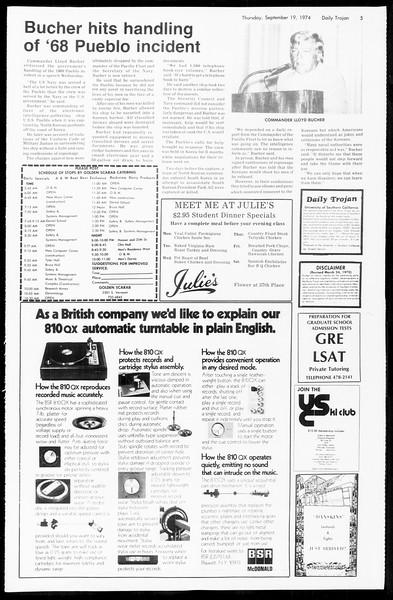Daily Trojan, Vol. 67, No. 4, September 19, 1974