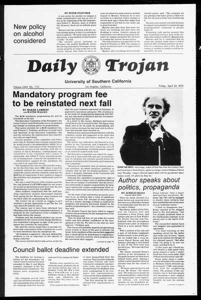 Daily Trojan, Vol. 67, No. 115, April 25, 1975