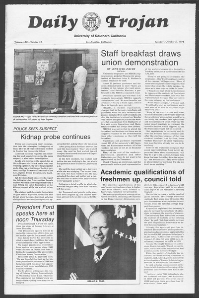 Daily Trojan, Vol. 70, No. 12, October 05, 1976