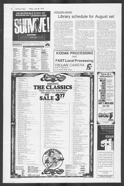 Summer Trojan, Vol. 69, No. 13, July 30, 1976