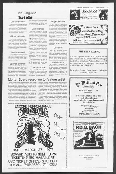Daily Trojan, Vol. 71, No. 29, March 22, 1977