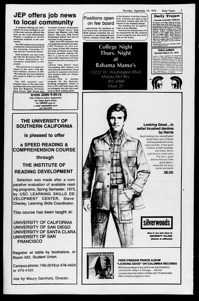 Daily Trojan, Vol. 68, No. 3, September 18, 1975