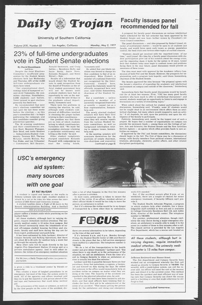 Daily Trojan, Vol. 71, No. 50, May 02, 1977