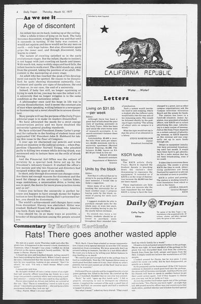 Daily Trojan, Vol. 71, No. 21, March 10, 1977