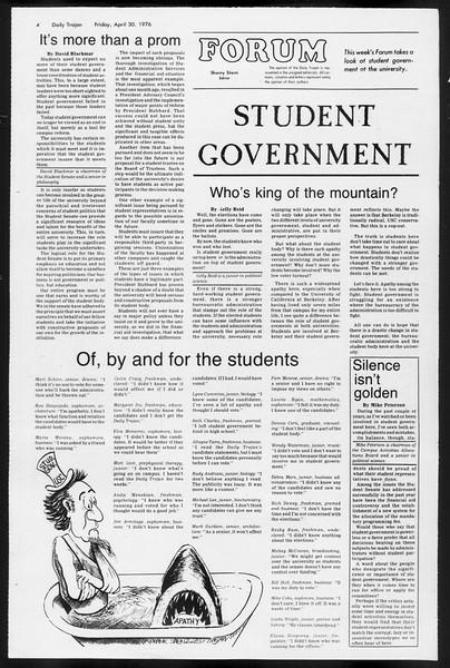 Daily Trojan, Vol. 68, No. 120, April 30, 1976