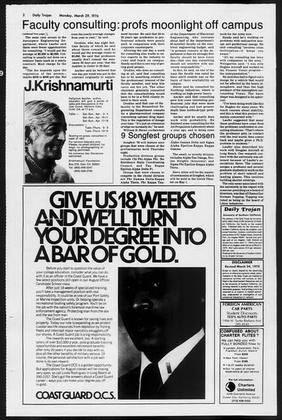 Daily Trojan, Vol. 68, No. 103, March 29, 1976