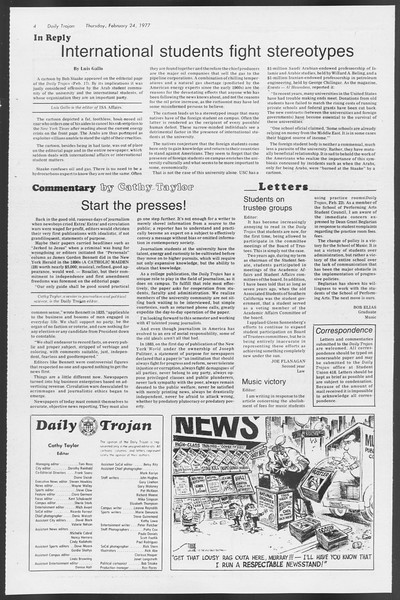 Daily Trojan, Vol. 71, No. 11, February 24, 1977