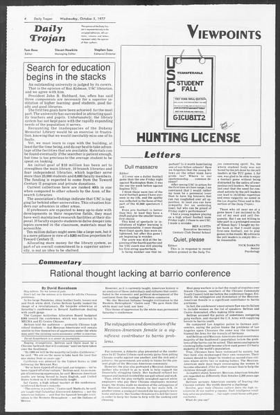 Daily Trojan, Vol. 72, No. 13, October 05, 1977