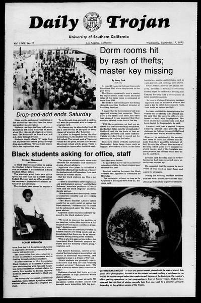 Daily Trojan, Vol. 68, No. 2, September 17, 1975