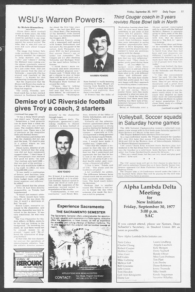 Daily Trojan, Vol. 72, No. 10, September 30, 1977