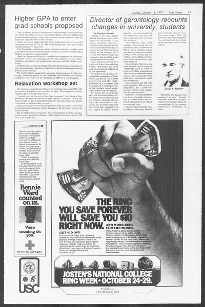 Daily Trojan, Vol. 72, No. 21, October 18, 1977
