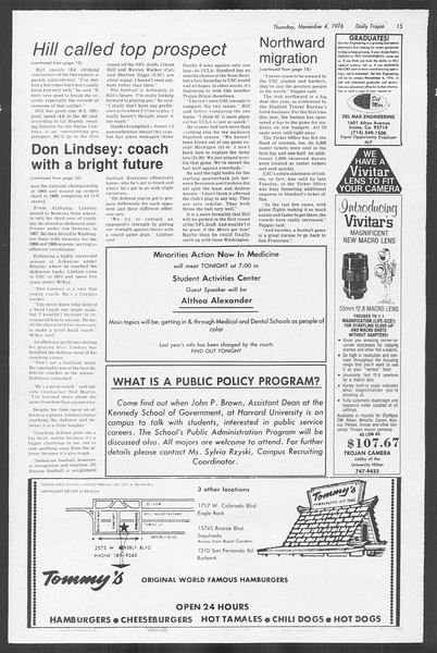 Daily Trojan, Vol. 70, No. 33, November 04, 1976