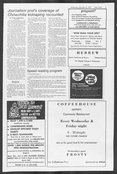 Daily Trojan, Vol. 70, No. 32, November 03, 1976