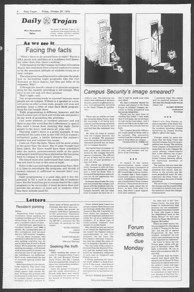 Daily Trojan, Vol. 70, No. 29, October 29, 1976