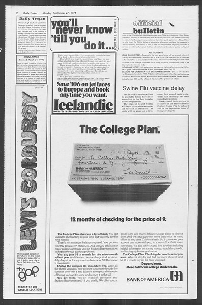 Daily Trojan, Vol. 70, No. 6, September 27, 1976