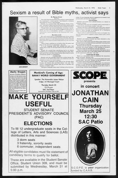 Daily Trojan, Vol. 68, No. 100, March 24, 1976