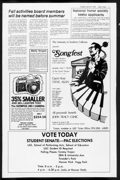 Daily Trojan, Vol. 68, No. 117, April 27, 1976