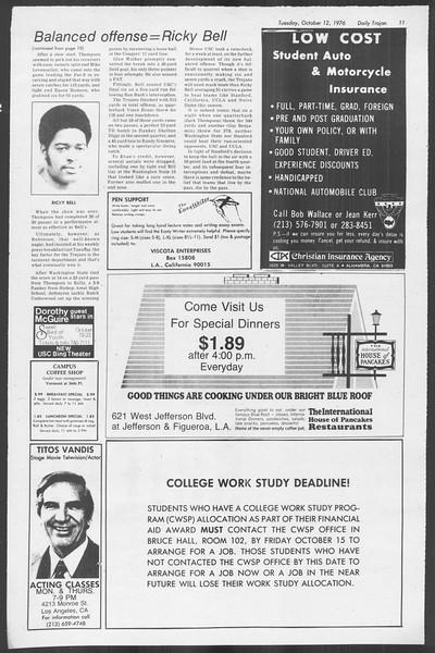 Daily Trojan, Vol. 70, No. 16, October 12, 1976