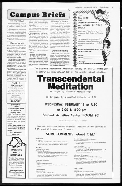 Daily Trojan, Vol. 67, No. 72, February 12, 1975