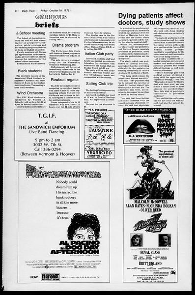 Daily Trojan, Vol. 68, No. 18, October 10, 1975