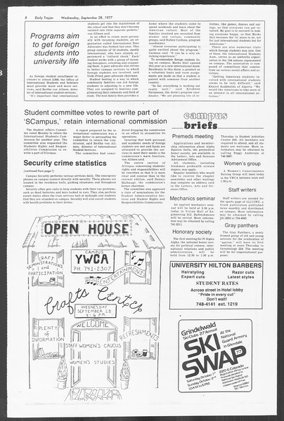 Daily Trojan, Vol. 72, No. 8, September 28, 1977