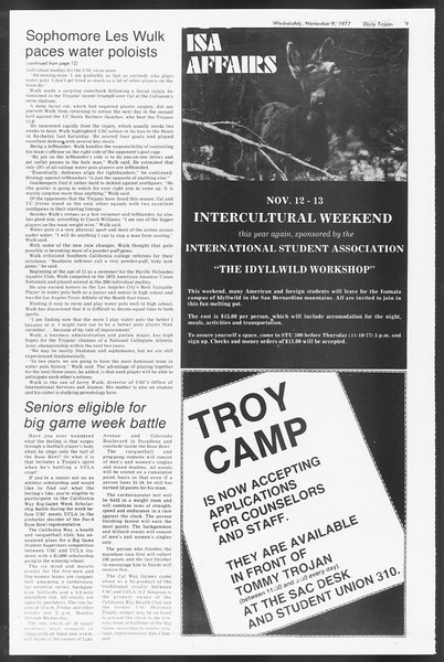 Daily Trojan, Vol. 72, No. 36, November 09, 1977