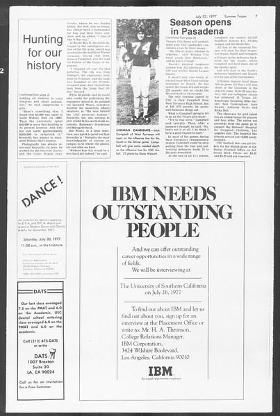 Summer Trojan, Vol. 72, No. 8, July 22, 1977