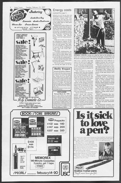 Daily Trojan, Vol. 71, No. 6, February 15, 1977